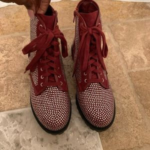 Shoes - Size 9, maroon crystal boots